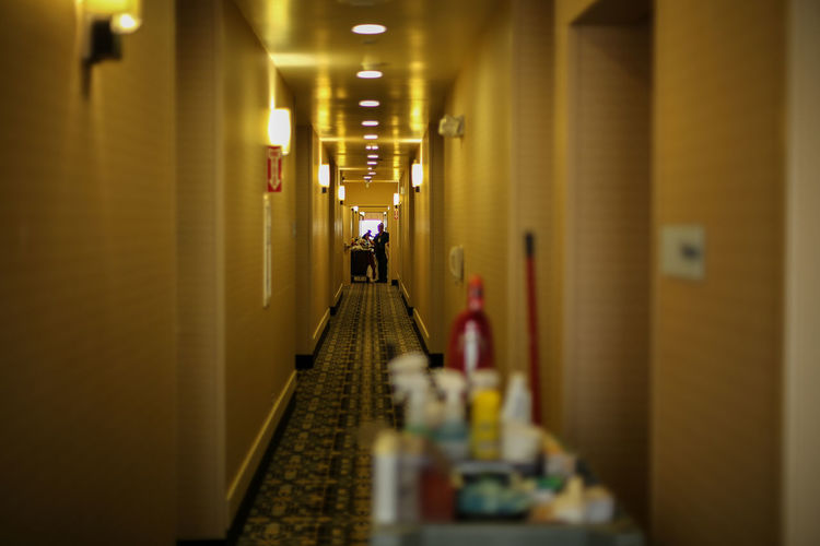 Illuminated corridor of hotel