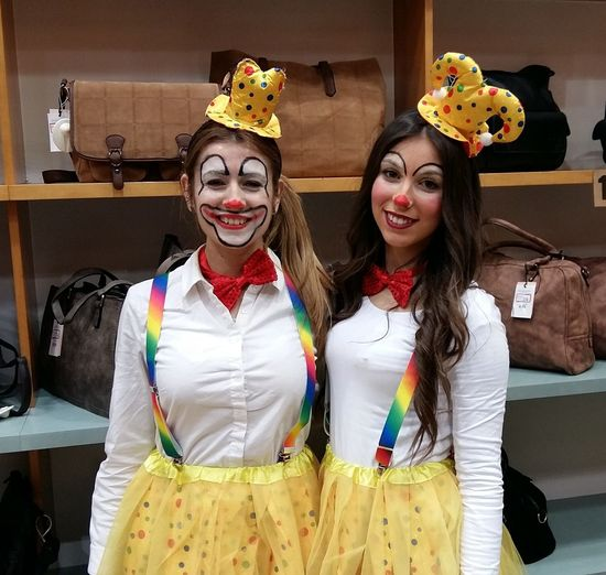 Costume Face Paint Girls Lifestyles Looking At Camera Togetherness Two People Urban Lifestyle Yellow Young Women