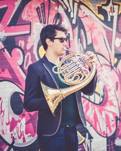 Musician Graffiti French Horn Portrait Colourful