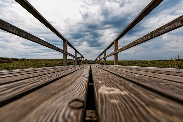 Surface Level Of Boardwalk Against Sky