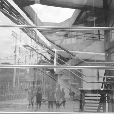 Architecture Stairs Glass Paraguay Friends Monochrome Black And White