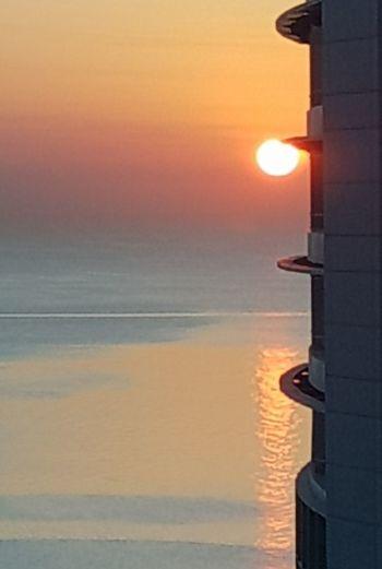 Good morning Sunset Sea Sun Orange Color Water Reflection Horizon Over Water EyeEmNewHere