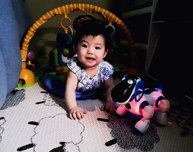 Lighting Child Childhood One Person Cute Girls Indoors  My Best Photo Innocence Full Length Portrait Real People Females Happiness Smiling Baby Toy Emotion Casual Clothing Looking At Camera