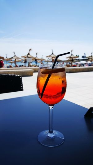 Aperol Spritz Beach Majorca Sa Coma Promenade Drinking Glass Alcohol Cocktail Tim Bailie Phone Photography Spaın Holiday