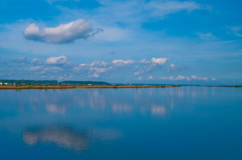 Sky Water Cloud - Sky Scenics - Nature Beauty In Nature Tranquility Waterfront Tranquil Scene Reflection Nature No People Sea Blue Idyllic Day Non-urban Scene Outdoors Standing Water River Japan Japan Photography Pentax Chiba