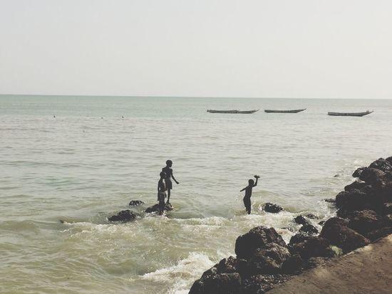 Kids Playing Sea Rocks