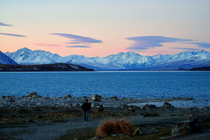 Snow capped Southern Alps viewed across turquoise colored Lake Tekapo. Tekapo NZ Beauty In Nature Cloud - Sky Cold Temperature Day Idyllic Landscape Leisure Activity Mountain Mountain Range Nature One Person Outdoors People Real People Scenics Sky Snow Tranquil Scene Tranquility Water