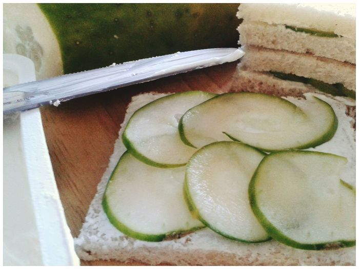 Cucumber sandwiches. Cucumber Sandwiches British Food Tea Sandwiches Tramezzini Cetriolo Cheese Snack Homemade Sandwiches Pan Carré Mobilephotography S3 Mini Smartphone Photography SLICE Cucumber Close-up Food And Drink