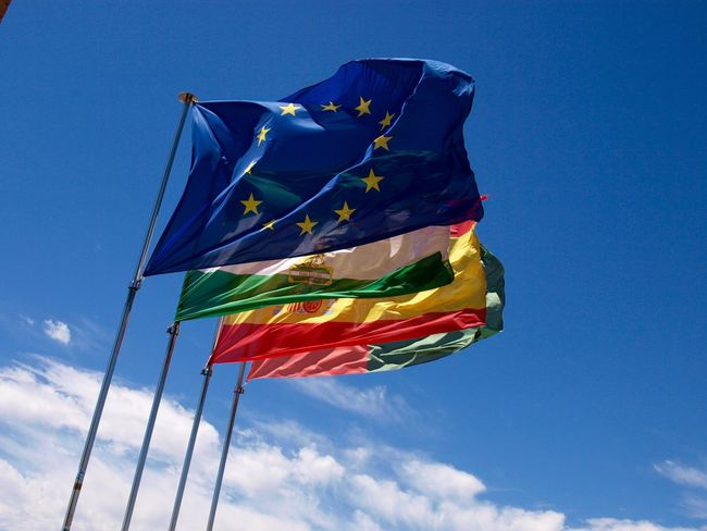 Andalusien Holiday SPAIN Spanien Trip Blue Day Eu Europa Flag Fluttering Low Angle View Multi Colored No People Outdoors Sky Wind