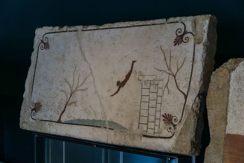 The Diver mural Paestum Roman ruins, Italy Representation Text Creativity Human Representation Art And Craft No People Communication Drawing - Art Product Sketch Handprint Close-up Indoors  Western Script Drawing - Activity Architecture Old Paper Male Likeness