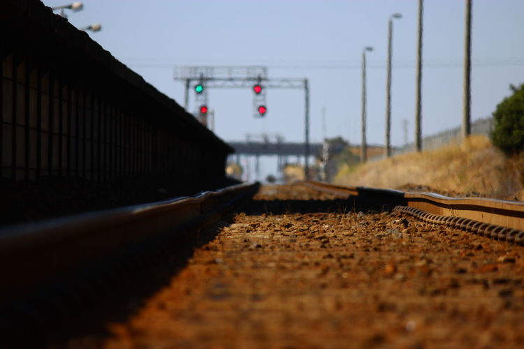 Surface Level Shot Of Railroad Track