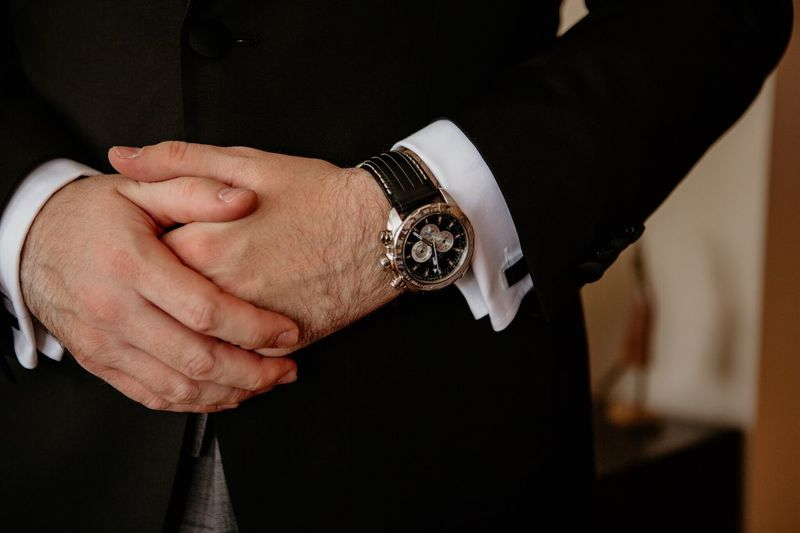 Ready Sleeve Link Smoking Wedding Details Man Watches Wedding Day Man Business Hand Human Hand Indoors  Real People One Person Human Body Part Time Men Watch Close-up Midsection Jewelry Focus On Foreground Adult Wristwatch Lifestyles Bracelet Fashion Personal Accessory