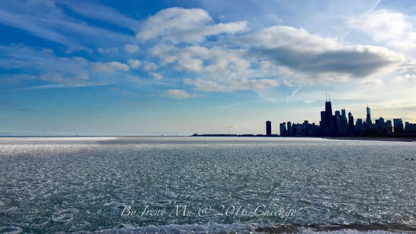 Lake Michigan Chicago Winter Ice Nice Day Irene Mu Photography Blue Wave