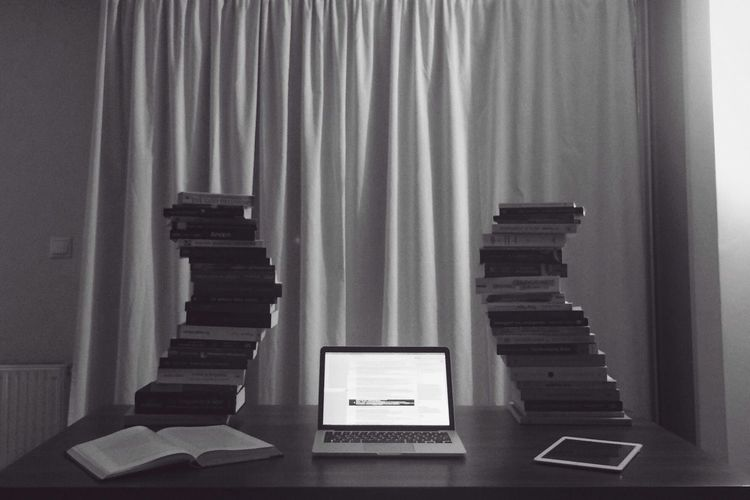 Indoors  Curtain Communication Book No People Wireless Technology Day Technology MacBookPro Ipad Knowledge Studying