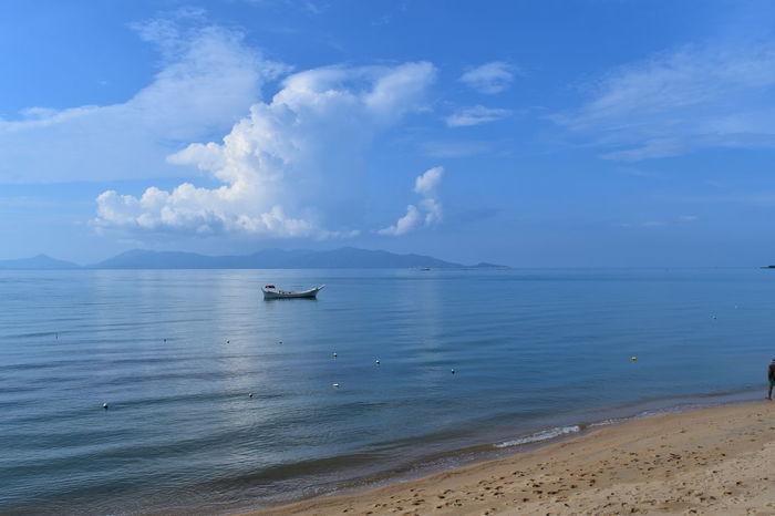 Just a boating floating with nobody around Tranquility Beach Beachphotography Beauty In Nature Blue Boat Boat Floating Boat On The Sea Clouds Clouds And Sky Horizon Over Water Idyllic Island Lonelyplanet Nautical Vessel Nobody Around Non-urban Scene Outdoors Shore Tranquil Scene Water Waterfront Waves, Ocean, Nature The Traveler - 2018 EyeEm Awards