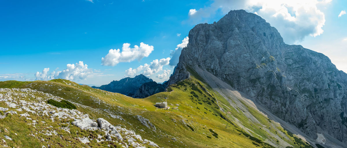 Panoramic view of Kamniško mountain pass Adventure Cottage Landscape Majestic Meadow Mountain Mountain Pass Mountain Range Nature Panoramic Remote Scenics Slovenia Summer Tranquility Trip