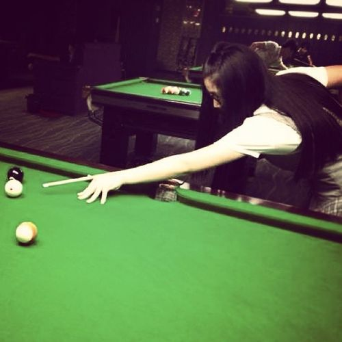 Playing billiards for the first time. That's so fun and quite skillful, and I like it :) Billiards Sports Alwaystry NewThings
