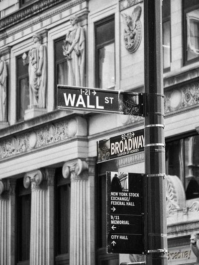 Black & White Black And White New York City Road Sign Street Street Sign Street Sign In New York Wall Street  Wall Street Broadway