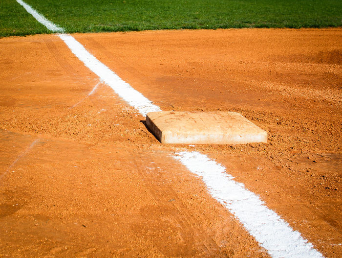 Third base line on a youth baseball field Baseball - Sport Baseball Diamond Baseball Field Day Dirt Grass Green Color Nature No People Outdoors Playing Field Single Line Sport Third Base Third Base Line Youth Baseball Field