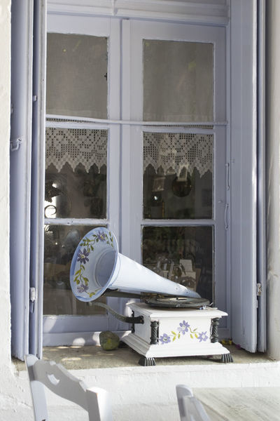Gramophone Lillac No People Open Window Window Sill