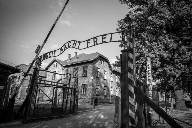 Auschwitz Auschwitz  Auschwitz Birkenau Sky Built Structure Architecture Tree Nature Plant No People Day Metal The Way Forward Building Exterior Boundary Barrier Fence Low Angle View Connection Outdoors Bridge Direction Gate