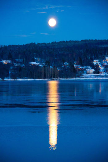 Sky Blue Reflection Nature Water Night Beauty In Nature Moon Outdoors Astronomy Supermoon Supermoon2016 Sweden Sundsvall Alnö Beauty In Nature