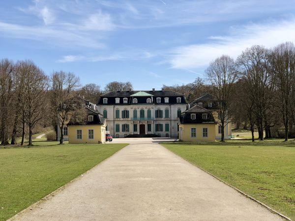 Schloss Wilhelmstal Architecture Bare Tree Building Building Exterior Built Structure Cloud - Sky Day Direction Footpath Grass House Lawn Nature No People Outdoors Plant Residential District Sky The Way Forward Tree