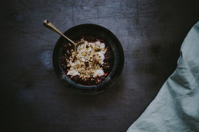 Close-up of breakfast in bowl on table