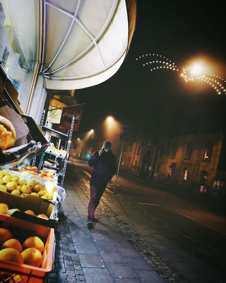 Night Market Illuminated Street Real People Rear View Full Length One Person Food Outdoors City People