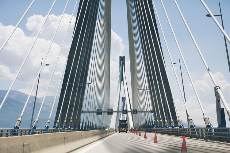 Architecture Bridge Bridge - Man Made Structure Built Structure Car City Connection Crossing Day Land Vehicle Mode Of Transport No People Outdoors Road Roadtrip Sky Suspension Bridge Transportation Your Ticket To Europe Investing In Quality Of Life Connected By Travel