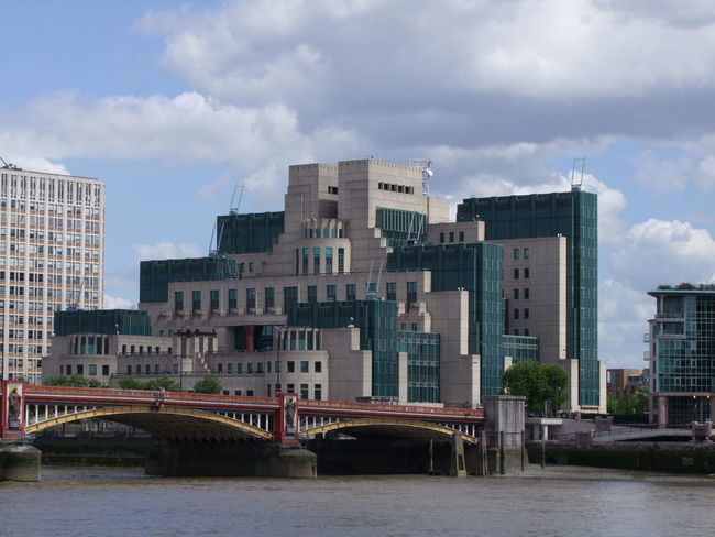 MI5 Building & Vauxhall Bridge Architecture Blue Sky White Clouds Bridge Bridge - Man Made Structure Building Exterior Built Structure Capital City GB London MI5 Modern Modern Architecture No People Ripples In The Water River Bank  River Thames Sunlight And Shadows Uk Unusual Shape. Vauxhall Bridge Water
