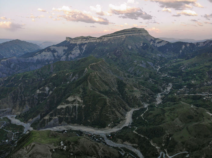 High angle view of valley against sky