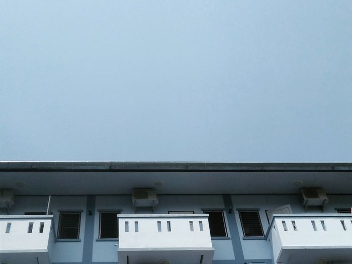 Dormitory Sky Blue Sky Light Blue Light Blue Sky Lonely No People Apartment Window Door
