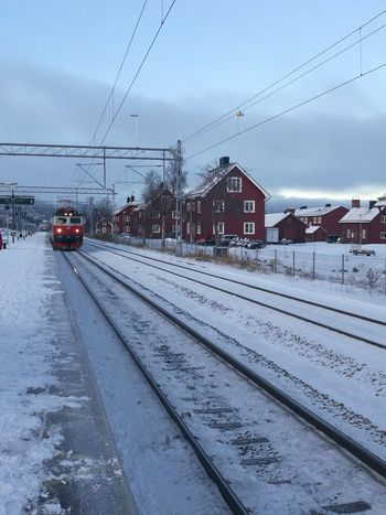 Cold Temperature Snow Winter Weather Transportation Railroad Track No People Rail Transportation Mode Of Transport Environment Outdoors Train - Vehicle Day Snowing Nature Storm Car Public Transportation Sky City Abisko Nationalpark Tranquility Scene Vacations No Filter Sweden Mobility In Mega Cities