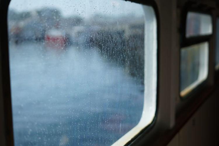 View of train through window