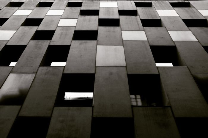 Architecture Looking Up Monochrome Full Frame Close-up Geometric Shape Rectangle Architectural Detail Shape Backgrounds Pattern Square Shape Parallel Checked Pattern