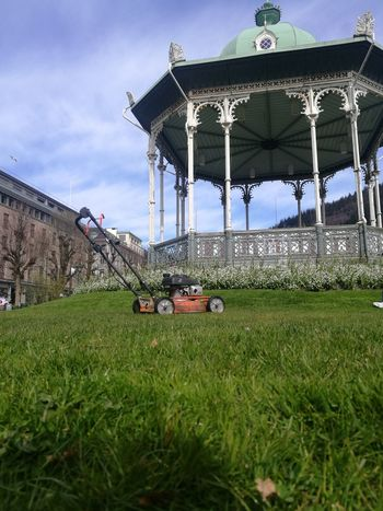 Built Structure Day Grass Green Color Lawnmower No People Outdoors Sky Spring HuaweiP9Photography HuaweiP9