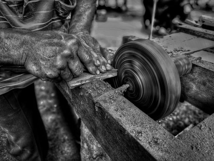 The making of Gasing Pangkah. Human Hand Human Body Part Working Work Tool Skill  Strength Close-up Occupation Workshop People Men Manual Worker Only Men One Person Day Indoors