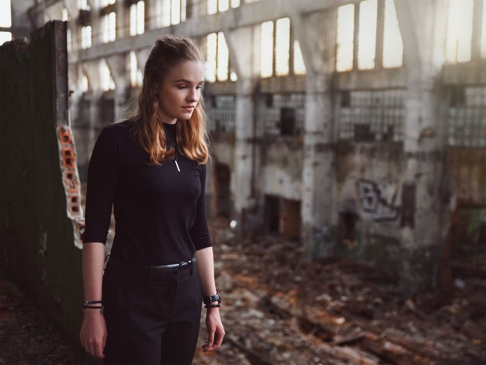 Urbex Portrait Girl Young Adult Young Women Factory Architecture Architecture_collection Blonde