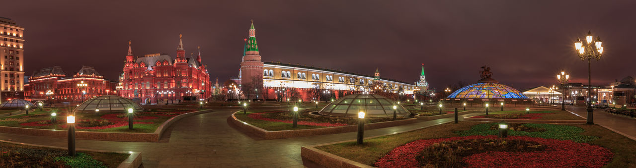 Panoramic night view over Manezhnaya Ploshchad in Moscow Architecture Built Structure Illuminated Building Exterior Night Travel Destinations Building Panoramic City Long Exposure Cityscape Urban Skyline Office Building Exterior Outdoors Manezhnaya Square Manezhnaya Ploshchad Panorma Panoramic Kremlin Nightscape Moscow Historical Museum Park Scenics Red Square