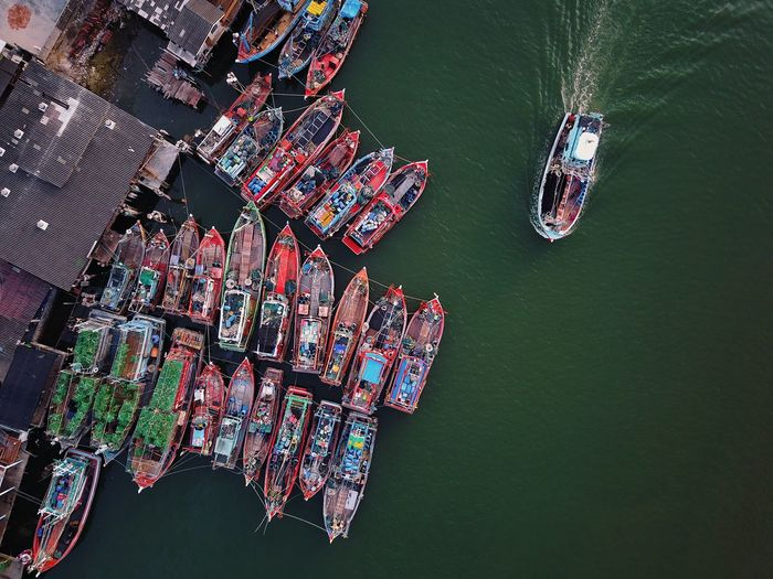 Directly above shot of boats in lake
