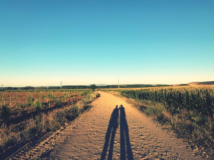 Together. Always. SPAIN Together Sky Clear Sky Copy Space Land Field Landscape One Person Real People Nature Environment Shadow Unrecognizable Person Human Body Part Day Scenics - Nature Rural Scene Body Part Sunlight Agriculture Blue