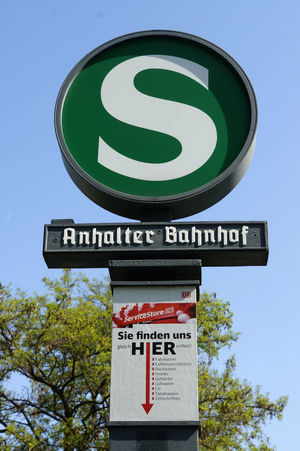 S-Bahn Berlin Anhalter Bahnhof Berlin Clear Sky Close-up Communication Day Green Color Guidance Low Angle View No People Outdoors Road Sign S-bahn Sky Text Tree
