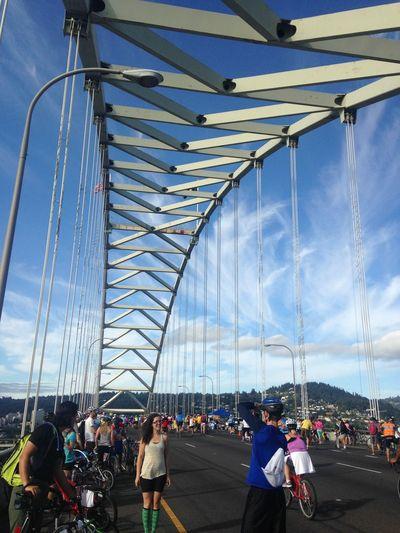 Arch Bike Biking Bridge City Life Cloud Cloud - Sky Engineering Leisure Activity Mode Of Transport Portland St. John's Bridge St. Johns Bridge  Suspension Bridge Multi Colored