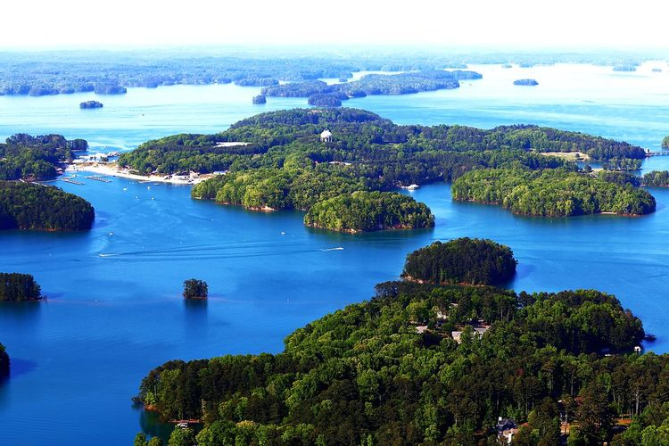 A great day for the lake! Lake Water Nature Scenics - Nature Beauty In Nature Sky Plant High Angle View Tranquil Scene Blue Day Horizon Over Water Travel Destinations Outdoors Tranquility Aerial View