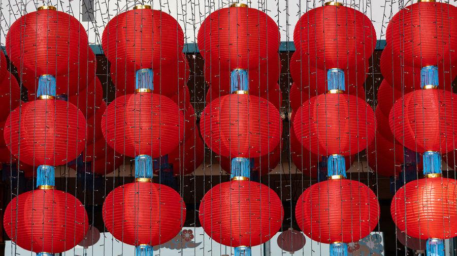 Full frame shot of red lanterns hanging in row