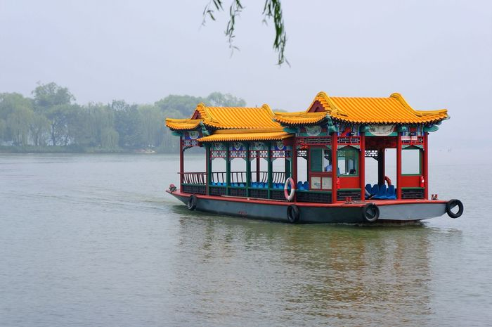 August Beijing Boat Empty Floating Ironic  Lake Meandering Melancholy Old Style Pensive Pollution Primary Colors Slow Life Summer Summer Palace Tourism Water Waterfront Yellow
