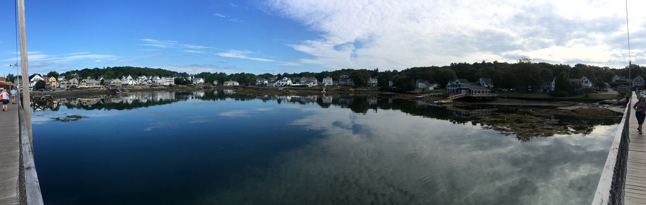 Blue Boothbay Harbor Maine Bridge View Calm Cloud Cloud - Sky Day Low Tide Outdoors Panoramic Panoramic View Reflection Scenics Sky Water Waterfront IPhoneography