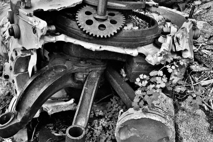Abandoned Airplane Black And White Close-up Crash Day Engine Gear Machinery Metal No People Outdoors Wreck