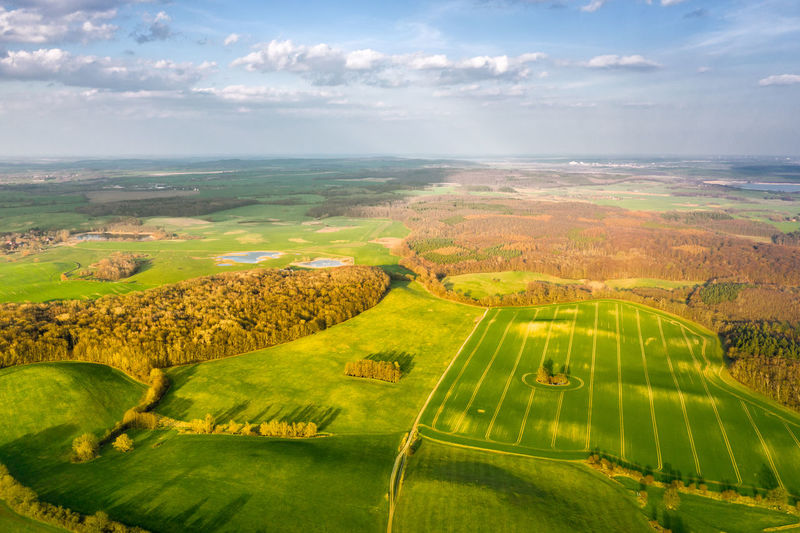 aerial view of agricultural fields near teterow Scenics - Nature Tranquility Land Green Color Horizon Day Cloud - Sky Landscape Environment Sky Beauty In Nature Tranquil Scene Nature Outdoors Horizon Over Water Aerial View Non-urban Scene Sea Plant Water Idyllic No People